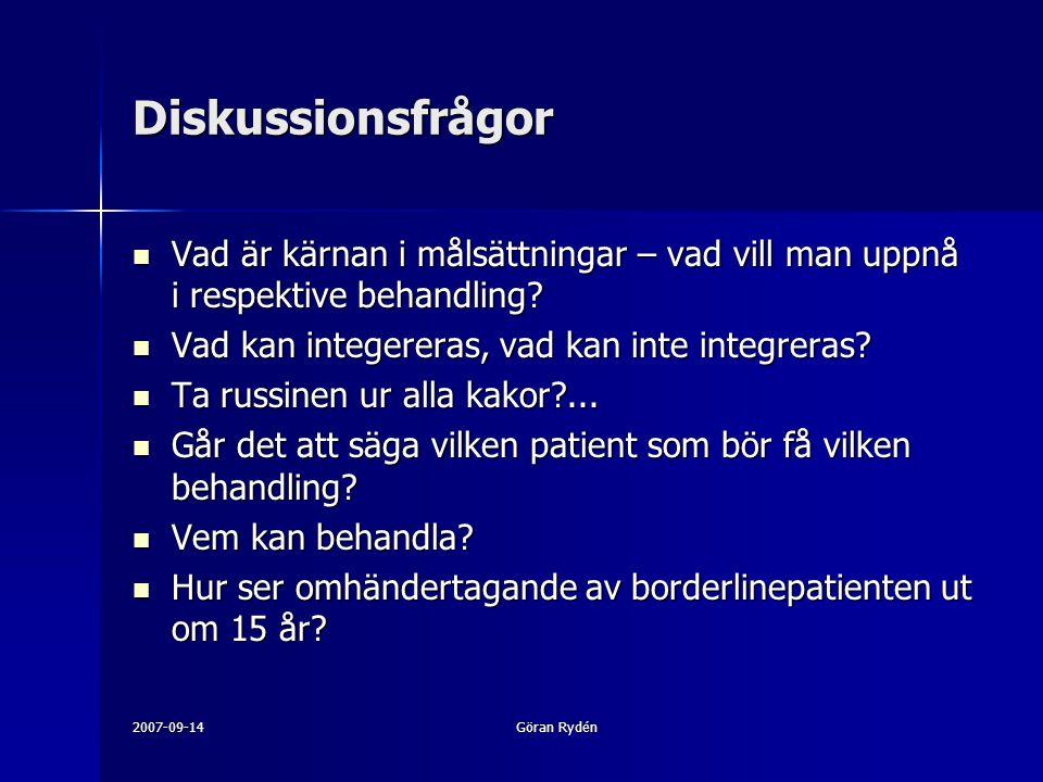 2007-09-14Göran Rydén Diskussionsfrågor Vad är kärnan i målsättningar – vad vill man uppnå i respektive behandling.