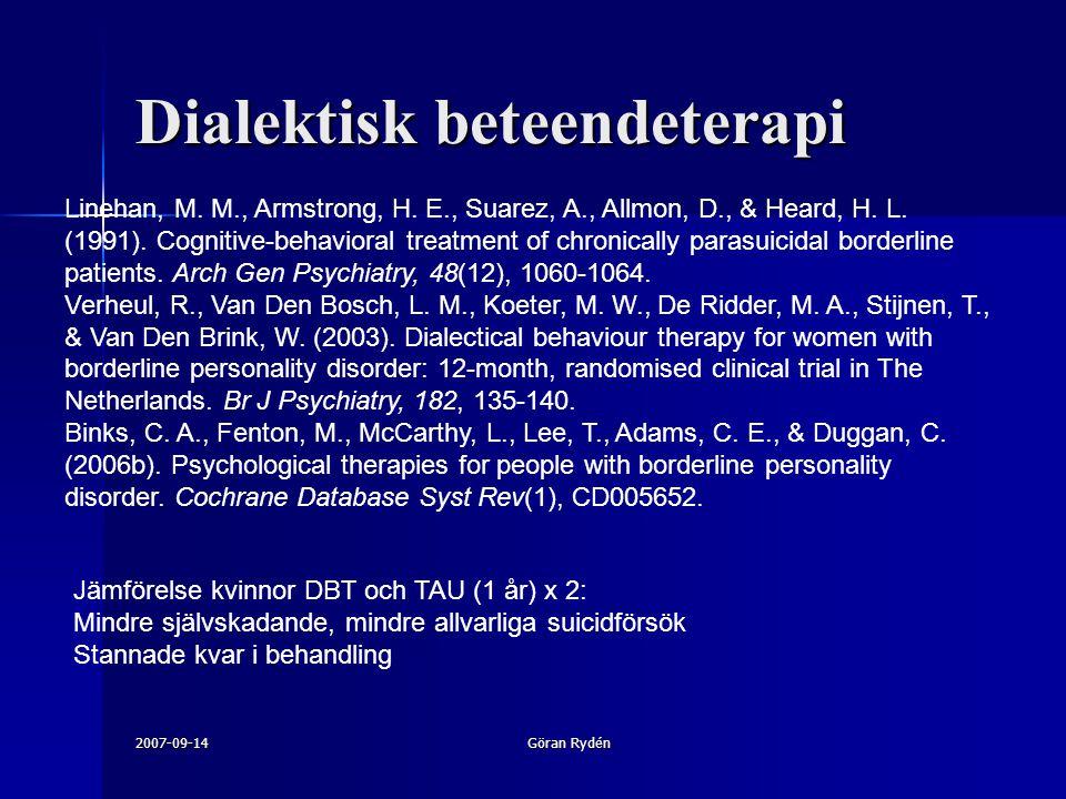 2007-09-14Göran Rydén Linehan, M. M., Armstrong, H. E., Suarez, A., Allmon, D., & Heard, H. L. (1991). Cognitive-behavioral treatment of chronically p