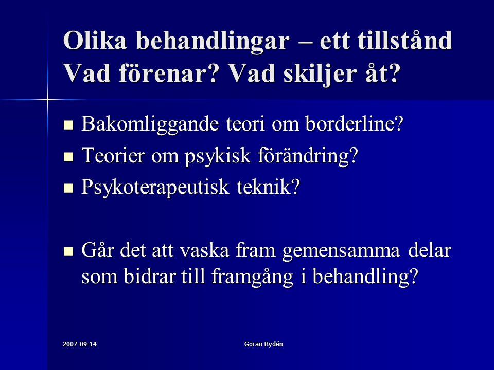 2007-09-14Göran Rydén Olika behandlingar – ett tillstånd Vad förenar? Vad skiljer åt? Bakomliggande teori om borderline? Bakomliggande teori om border