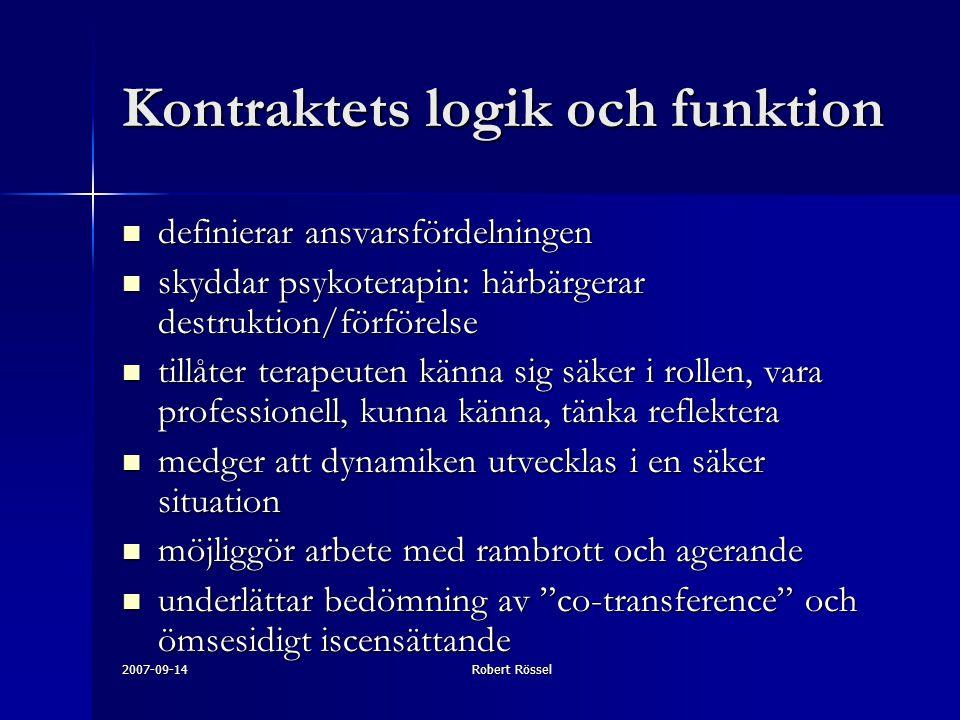 2007-09-14Robert Rössel Kontraktets logik och funktion definierar ansvarsfördelningen definierar ansvarsfördelningen skyddar psykoterapin: härbärgerar