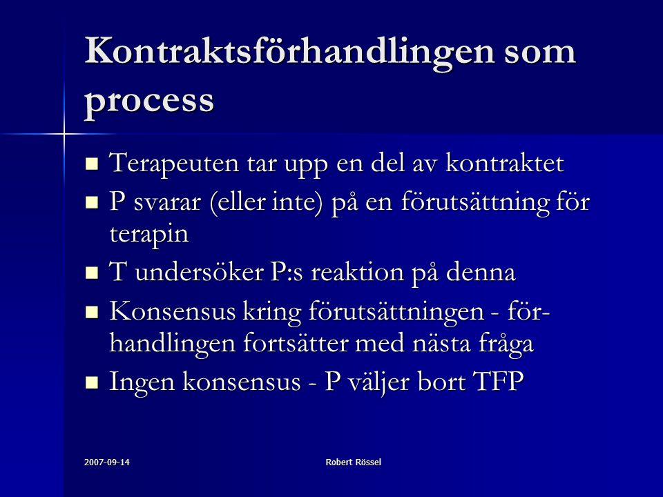 2007-09-14Robert Rössel Kontraktsförhandlingen som process Terapeuten tar upp en del av kontraktet Terapeuten tar upp en del av kontraktet P svarar (eller inte) på en förutsättning för terapin P svarar (eller inte) på en förutsättning för terapin T undersöker P:s reaktion på denna T undersöker P:s reaktion på denna Konsensus kring förutsättningen - för- handlingen fortsätter med nästa fråga Konsensus kring förutsättningen - för- handlingen fortsätter med nästa fråga Ingen konsensus - P väljer bort TFP Ingen konsensus - P väljer bort TFP
