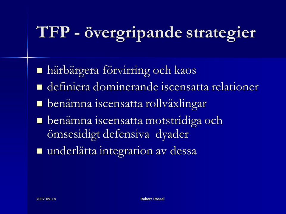 2007-09-14Robert Rössel TFP - övergripande strategier härbärgera förvirring och kaos härbärgera förvirring och kaos definiera dominerande iscensatta relationer definiera dominerande iscensatta relationer benämna iscensatta rollväxlingar benämna iscensatta rollväxlingar benämna iscensatta motstridiga och ömsesidigt defensiva dyader benämna iscensatta motstridiga och ömsesidigt defensiva dyader underlätta integration av dessa underlätta integration av dessa
