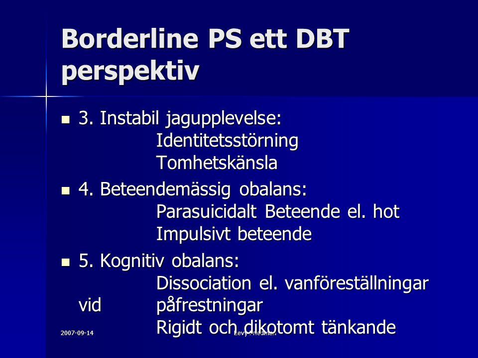 2007-09-14Levy Friedman Borderline PS ett DBT perspektiv 3. Instabil jagupplevelse: Identitetsstörning Tomhetskänsla 3. Instabil jagupplevelse: Identi