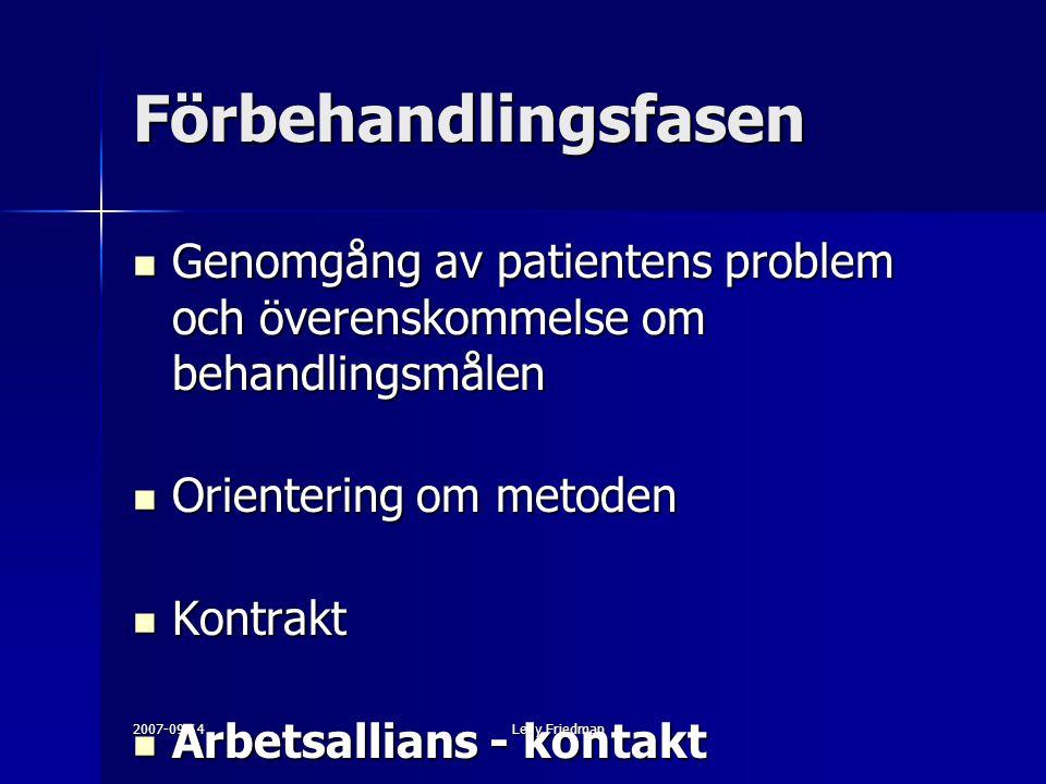 2007-09-14Levy Friedman Förbehandlingsfasen Genomgång av patientens problem och överenskommelse om behandlingsmålen Genomgång av patientens problem och överenskommelse om behandlingsmålen Orientering om metoden Orientering om metoden Kontrakt Kontrakt Arbetsallians - kontakt Arbetsallians - kontakt