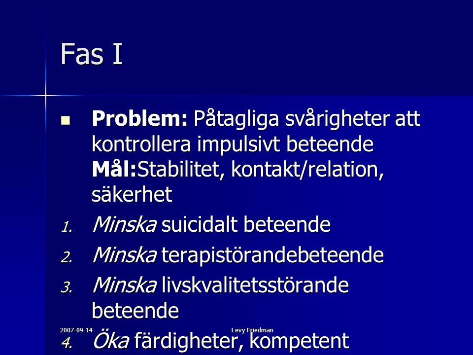 2007-09-14Levy Friedman Fas I Problem: Påtagliga svårigheter att kontrollera impulsivt beteende Mål:Stabilitet, kontakt/relation, säkerhet Problem: På
