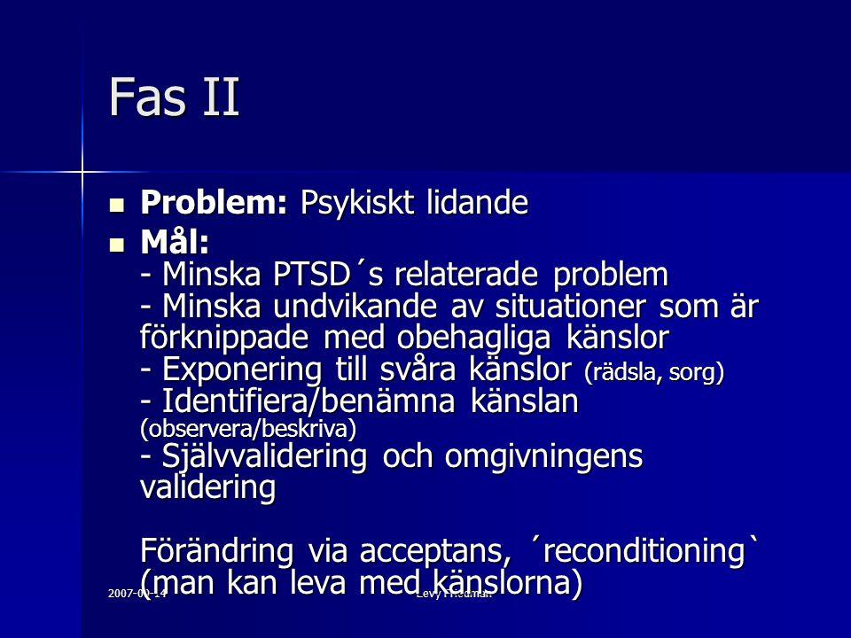 2007-09-14Levy Friedman Fas II Problem: Psykiskt lidande Problem: Psykiskt lidande Mål: - Minska PTSD´s relaterade problem - Minska undvikande av situationer som är förknippade med obehagliga känslor - Exponering till svåra känslor (rädsla, sorg) - Identifiera/benämna känslan (observera/beskriva) - Självvalidering och omgivningens validering Förändring via acceptans, ´reconditioning` (man kan leva med känslorna) Mål: - Minska PTSD´s relaterade problem - Minska undvikande av situationer som är förknippade med obehagliga känslor - Exponering till svåra känslor (rädsla, sorg) - Identifiera/benämna känslan (observera/beskriva) - Självvalidering och omgivningens validering Förändring via acceptans, ´reconditioning` (man kan leva med känslorna)