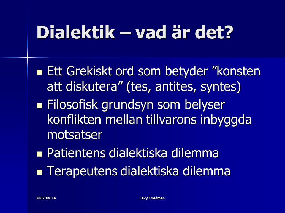 """2007-09-14Levy Friedman Dialektik – vad är det? Ett Grekiskt ord som betyder """"konsten att diskutera"""" (tes, antites, syntes) Ett Grekiskt ord som betyd"""