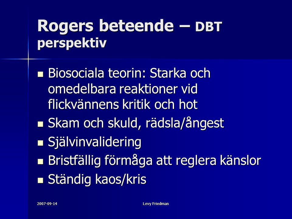 2007-09-14Levy Friedman Rogers beteende – DBT perspektiv Biosociala teorin: Starka och omedelbara reaktioner vid flickvännens kritik och hot Biosocial