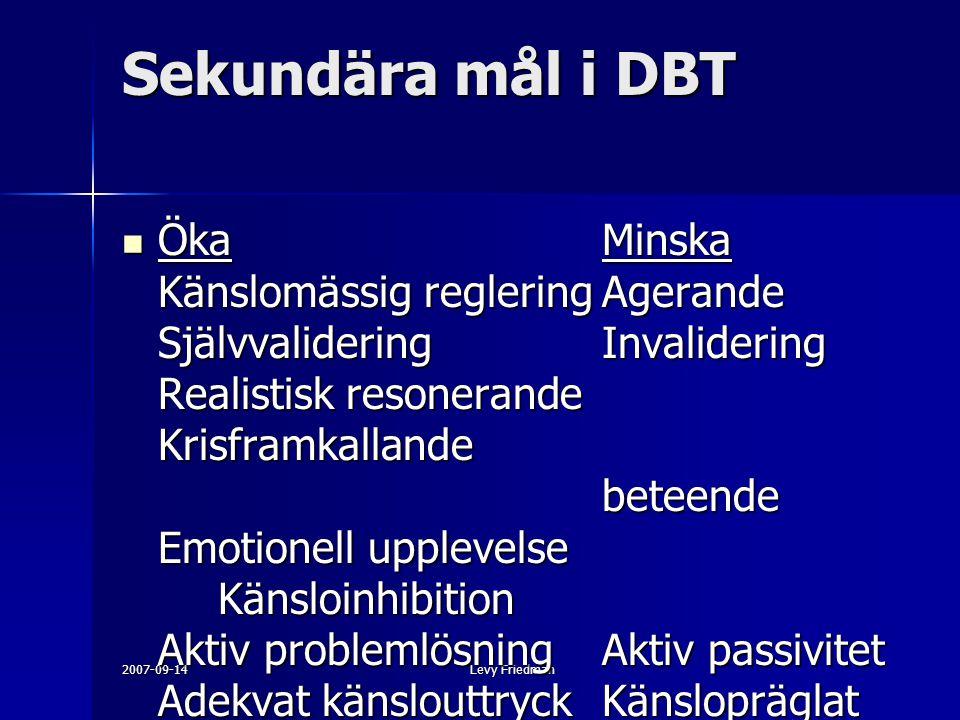 2007-09-14Levy Friedman Sekundära mål i DBT ÖkaMinska Känslomässig regleringAgerande SjälvvalideringInvalidering Realistisk resonerande Krisframkallan