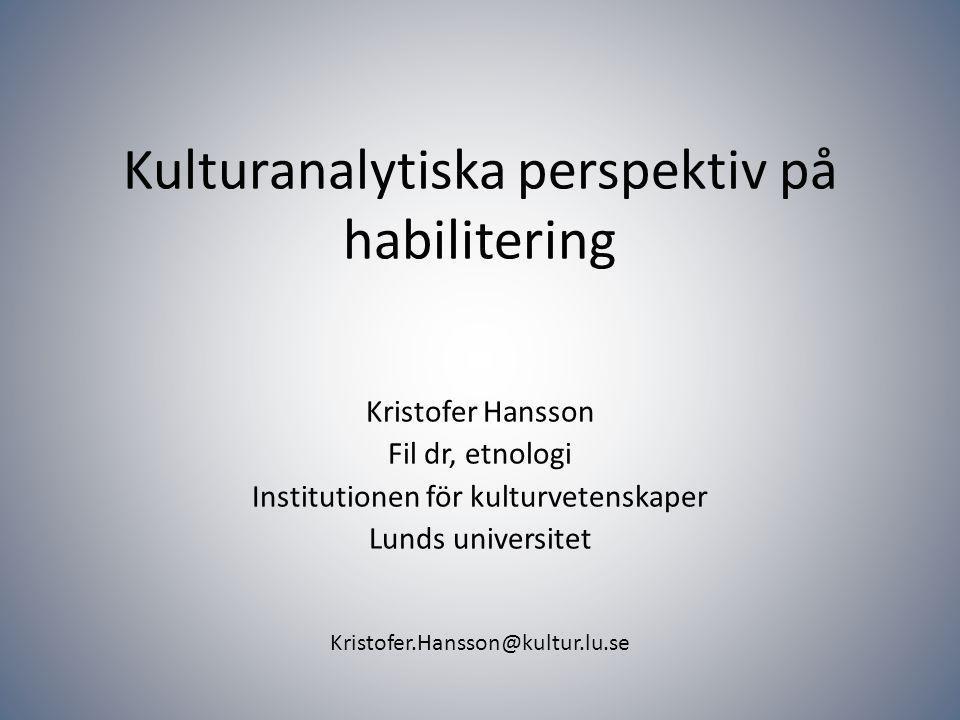Kristofer.Hansson@kultur.lu.se Den tidigare så självklara socialiseringen in i ett vist handlingssätt blir plötsligt obrukbar.