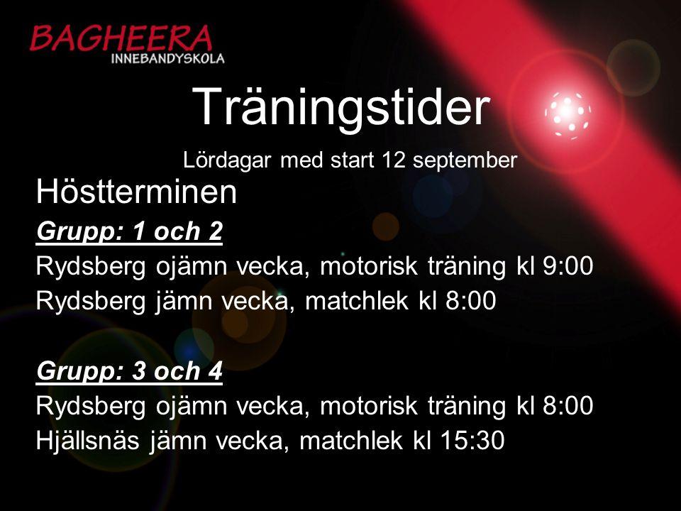 Träningstider Höstterminen Grupp: 1 och 2 Rydsberg ojämn vecka, motorisk träning kl 9:00 Rydsberg jämn vecka, matchlek kl 8:00 Grupp: 3 och 4 Rydsberg