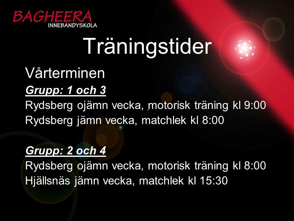 Träningstider Vårterminen Grupp: 1 och 3 Rydsberg ojämn vecka, motorisk träning kl 9:00 Rydsberg jämn vecka, matchlek kl 8:00 Grupp: 2 och 4 Rydsberg
