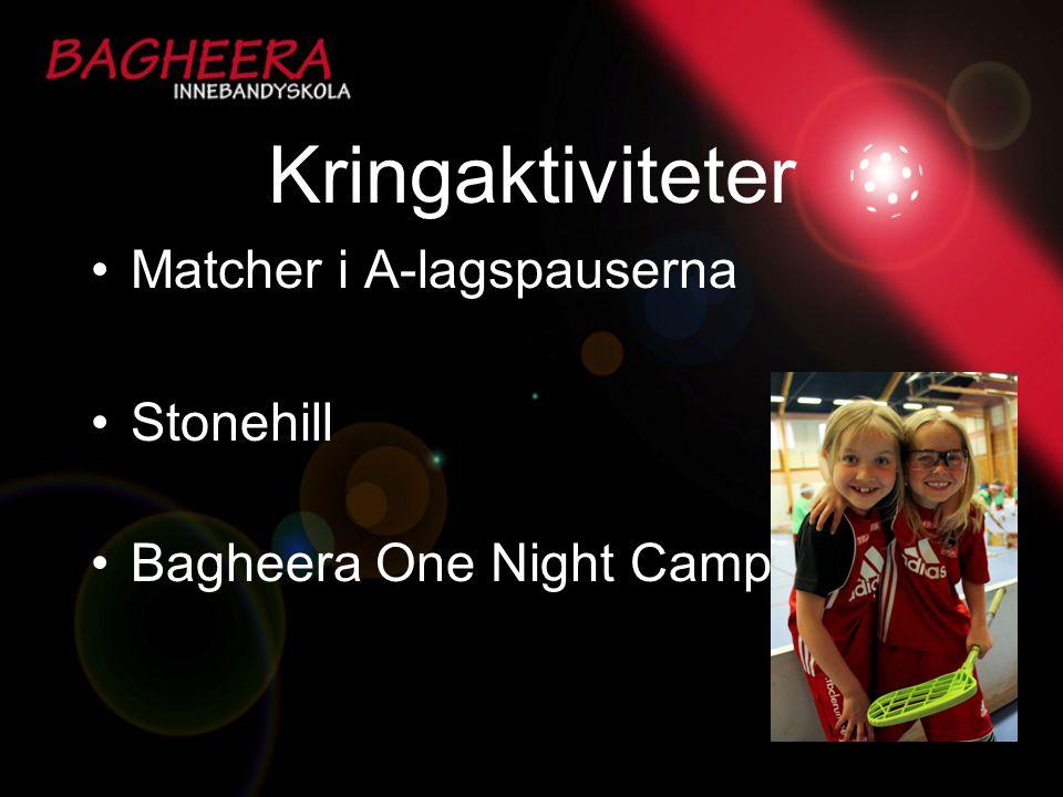 Kringaktiviteter Matcher i A-lagspauserna Stonehill Bagheera One Night Camp