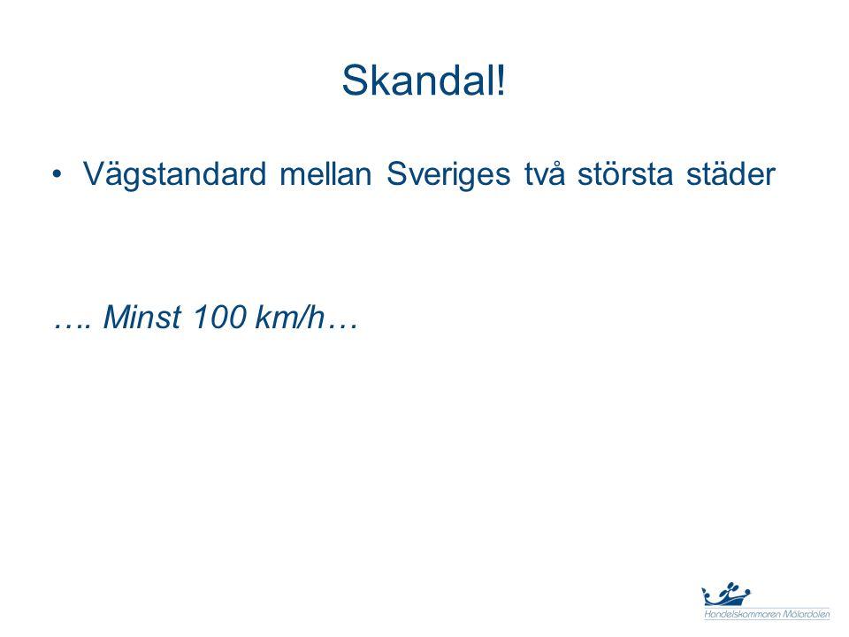 Skandal! Vägstandard mellan Sveriges två största städer …. Minst 100 km/h…
