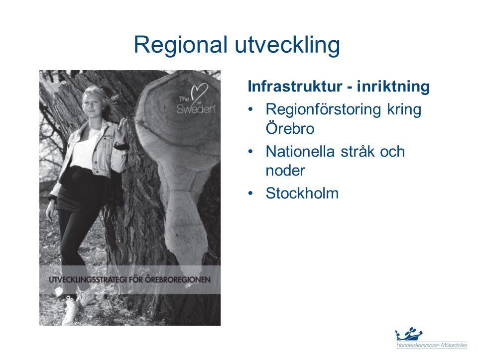 Regional utveckling Infrastruktur - inriktning Regionförstoring kring Örebro Nationella stråk och noder Stockholm