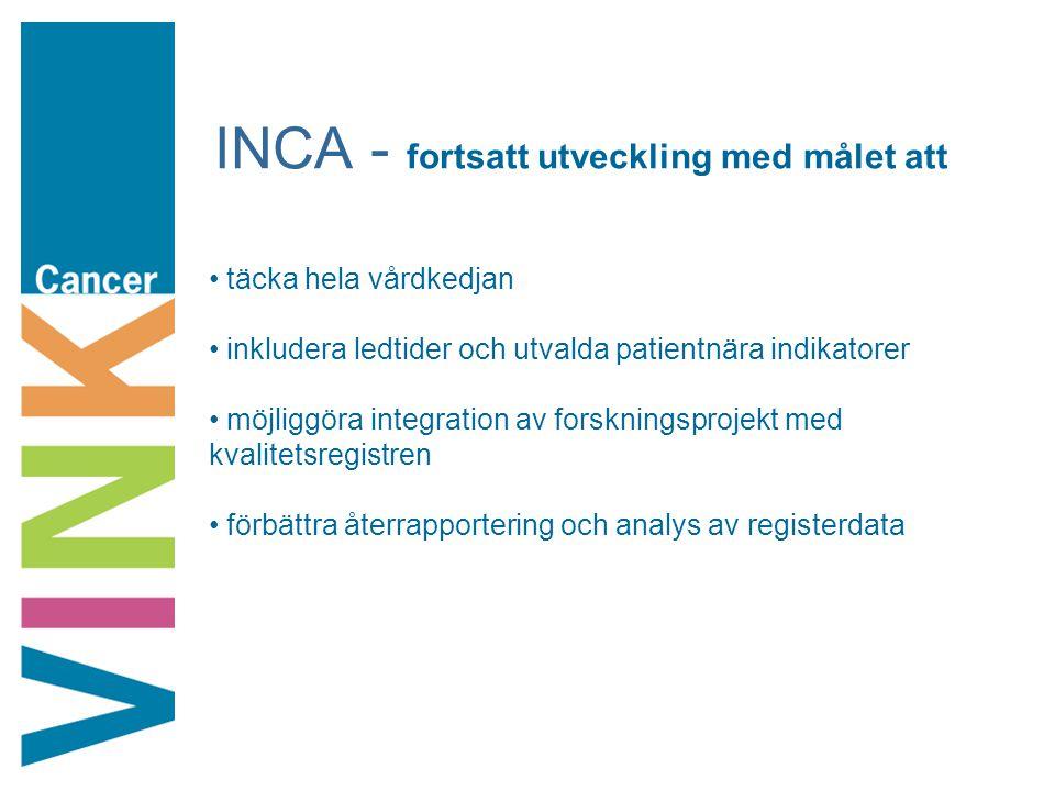 INCA - fortsatt utveckling med målet att täcka hela vårdkedjan inkludera ledtider och utvalda patientnära indikatorer möjliggöra integration av forskn