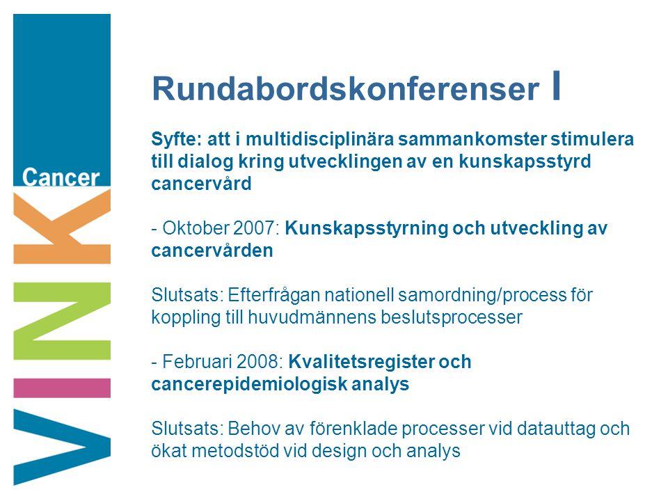 Rundabordskonferenser I Syfte: att i multidisciplinära sammankomster stimulera till dialog kring utvecklingen av en kunskapsstyrd cancervård - Oktober