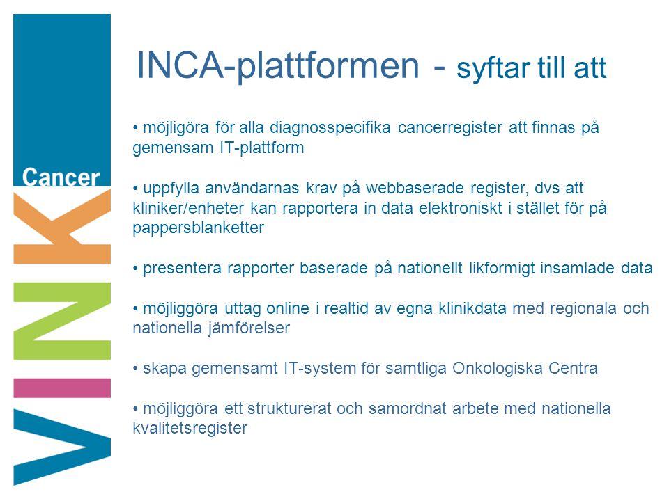 INCA-plattformen - syftar till att möjligöra för alla diagnosspecifika cancerregister att finnas på gemensam IT-plattform uppfylla användarnas krav på