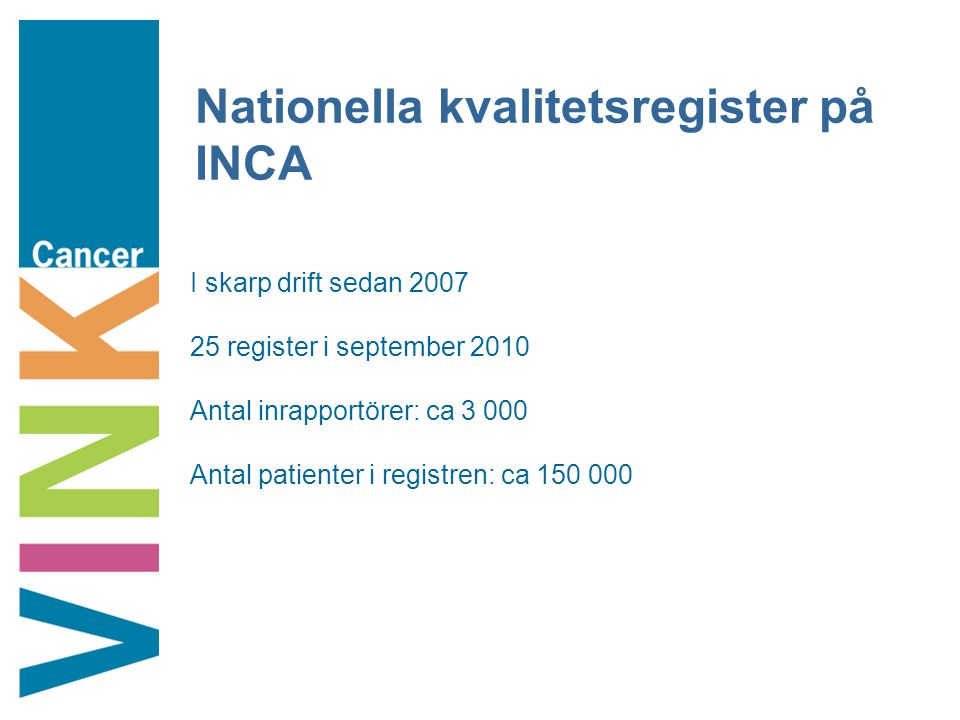 Nationella kvalitetsregister på INCA I skarp drift sedan 2007 25 register i september 2010 Antal inrapportörer: ca 3 000 Antal patienter i registren: ca 150 000