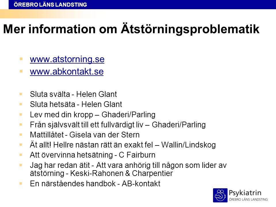 ÖREBRO LÄNS LANDSTING Mer information om Ätstörningsproblematik  www.atstorning.se www.atstorning.se  www.abkontakt.se www.abkontakt.se  Sluta sväl
