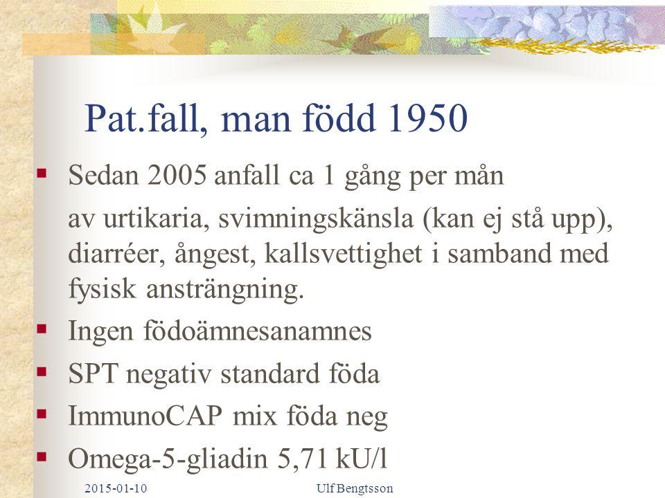 2015-01-10Ulf Bengtsson Pat.fall, man född 1950  Sedan 2005 anfall ca 1 gång per mån av urtikaria, svimningskänsla (kan ej stå upp), diarréer, ångest