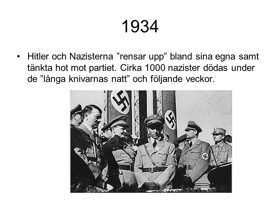 """1934 Hitler och Nazisterna """"rensar upp"""" bland sina egna samt tänkta hot mot partiet. Cirka 1000 nazister dödas under de """"långa knivarnas natt"""" och föl"""