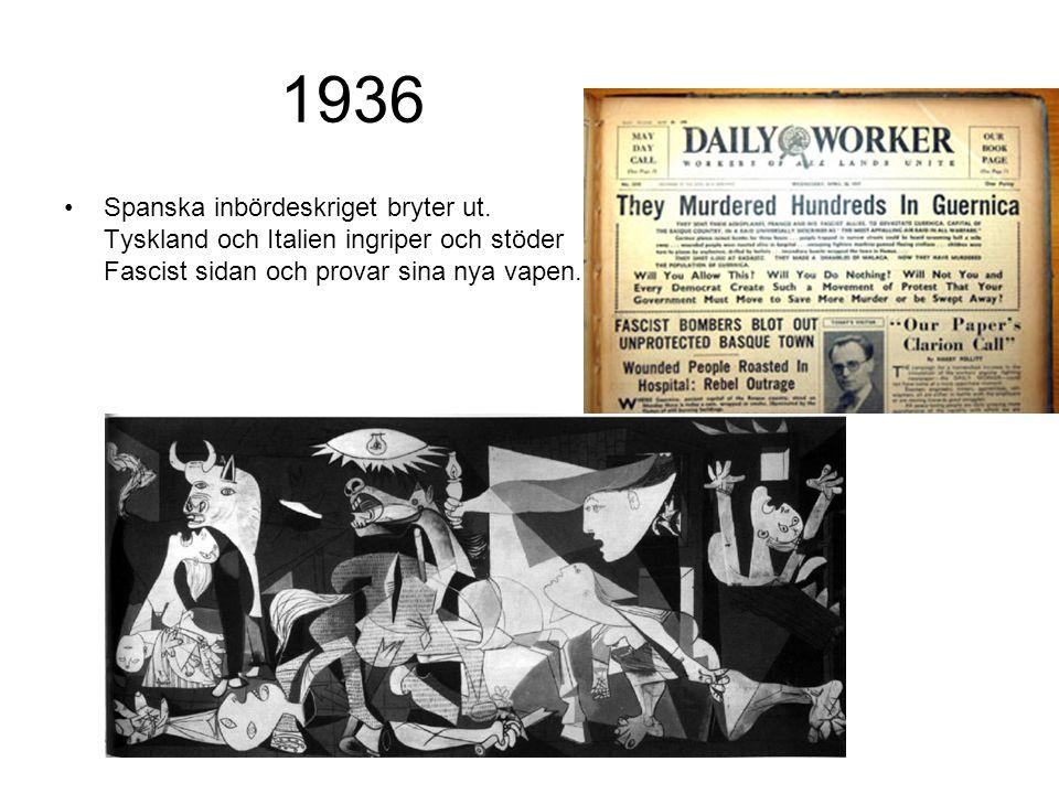 1936 Spanska inbördeskriget bryter ut. Tyskland och Italien ingriper och stöder Fascist sidan och provar sina nya vapen.