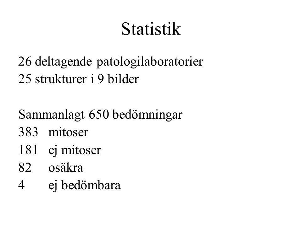 Statistik 26 deltagende patologilaboratorier 25 strukturer i 9 bilder Sammanlagt 650 bedömningar 383 mitoser 181 ej mitoser 82 osäkra 4 ej bedömbara