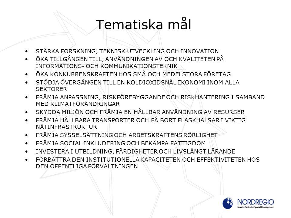 Tematiska mål STÄRKA FORSKNING, TEKNISK UTVECKLING OCH INNOVATION ÖKA TILLGÅNGEN TILL, ANVÄNDNINGEN AV OCH KVALITETEN PÅ INFORMATIONS- OCH KOMMUNIKATI