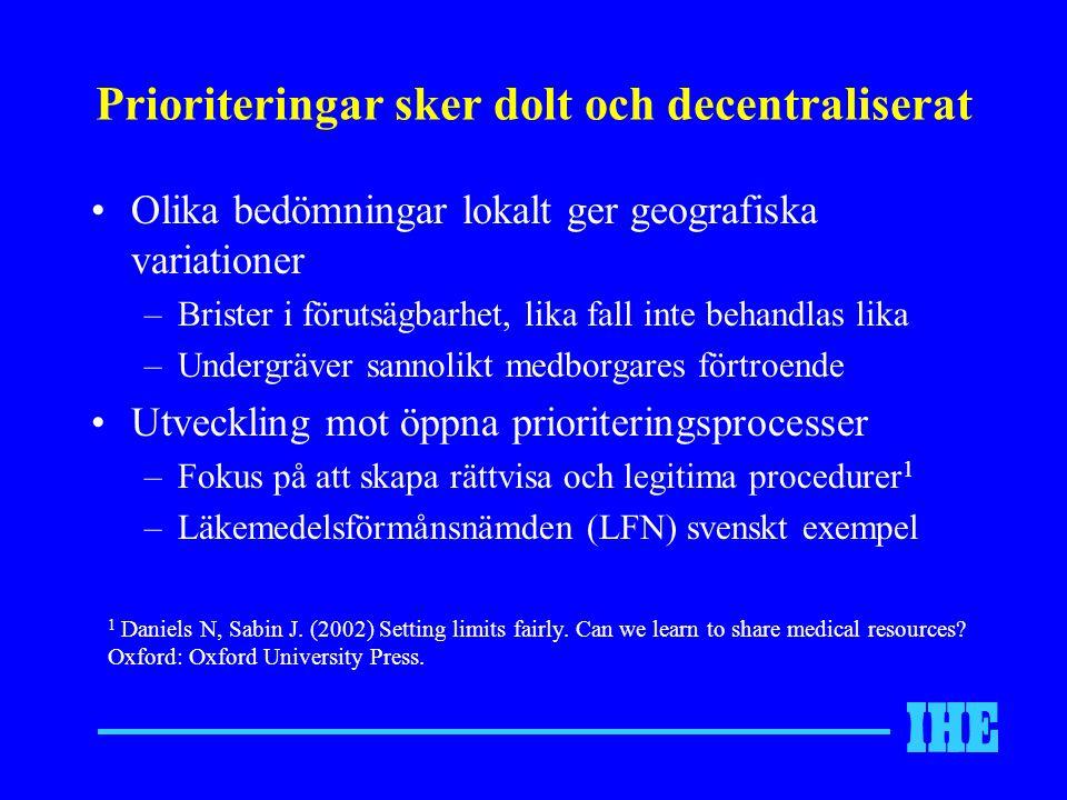 Prioriteringar sker dolt och decentraliserat Olika bedömningar lokalt ger geografiska variationer –Brister i förutsägbarhet, lika fall inte behandlas lika –Undergräver sannolikt medborgares förtroende Utveckling mot öppna prioriteringsprocesser –Fokus på att skapa rättvisa och legitima procedurer 1 –Läkemedelsförmånsnämden (LFN) svenskt exempel 1 Daniels N, Sabin J.