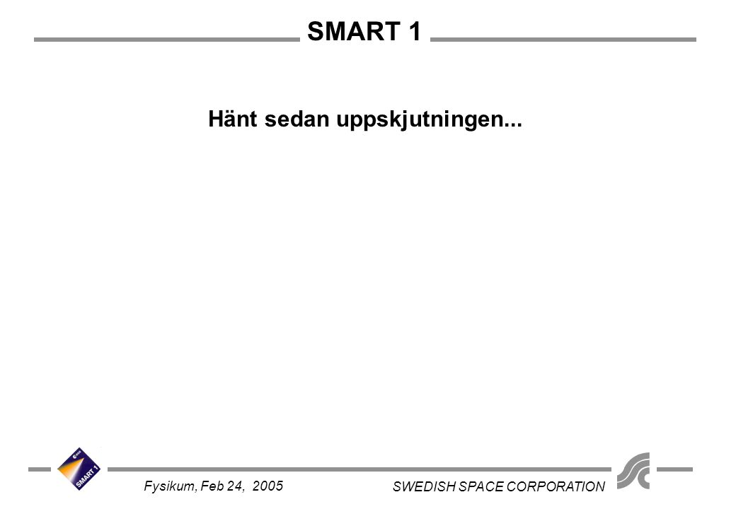 SMART 1 SWEDISH SPACE CORPORATION Fysikum, Feb 24, 2005 Hänt sedan uppskjutningen...