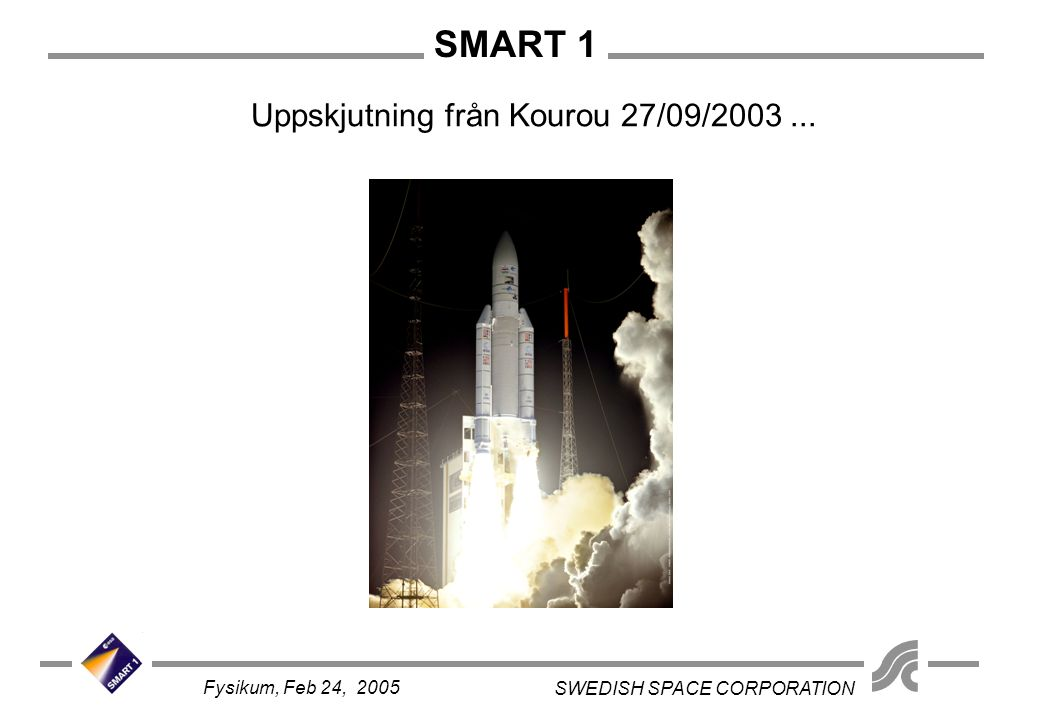 SMART 1 SWEDISH SPACE CORPORATION Fysikum, Feb 24, 2005 Uppskjutning från Kourou 27/09/2003...