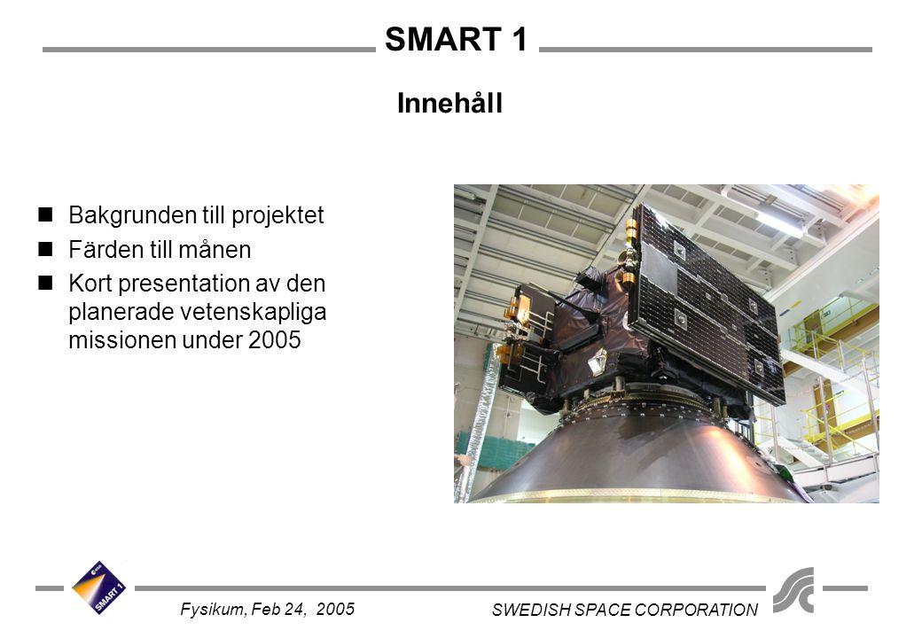 SMART 1 SWEDISH SPACE CORPORATION Fysikum, Feb 24, 2005 Innehåll Bakgrunden till projektet Färden till månen Kort presentation av den planerade vetens
