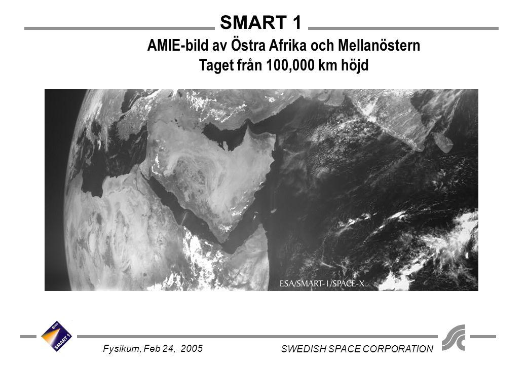 SMART 1 SWEDISH SPACE CORPORATION Fysikum, Feb 24, 2005 AMIE-bild av Östra Afrika och Mellanöstern Taget från 100,000 km höjd