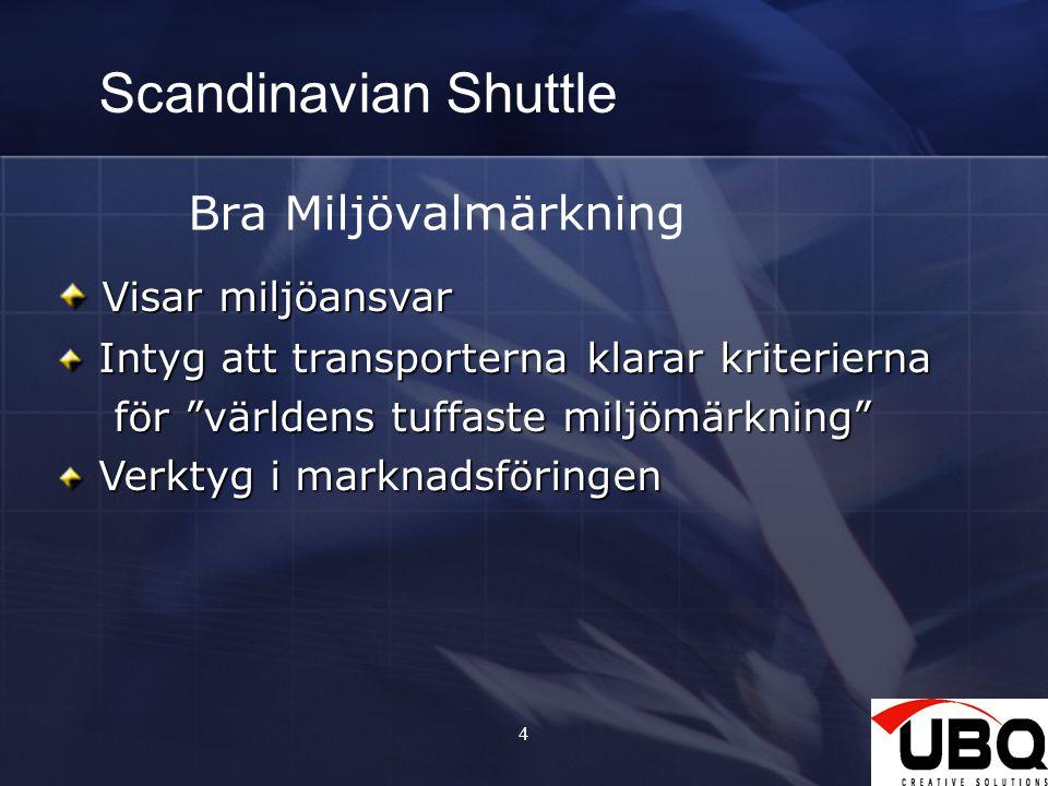 4 Scandinavian Shuttle Bra Miljövalmärkning Visar miljöansvar Visar miljöansvar Intyg att transporterna klarar kriterierna Intyg att transporterna kla
