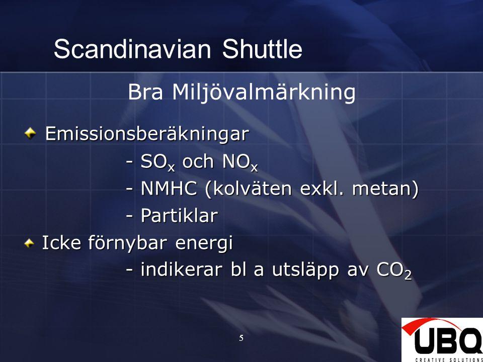 5 Scandinavian Shuttle Bra Miljövalmärkning Emissionsberäkningar Emissionsberäkningar - SO x och NO x - SO x och NO x - NMHC (kolväten exkl. metan) -