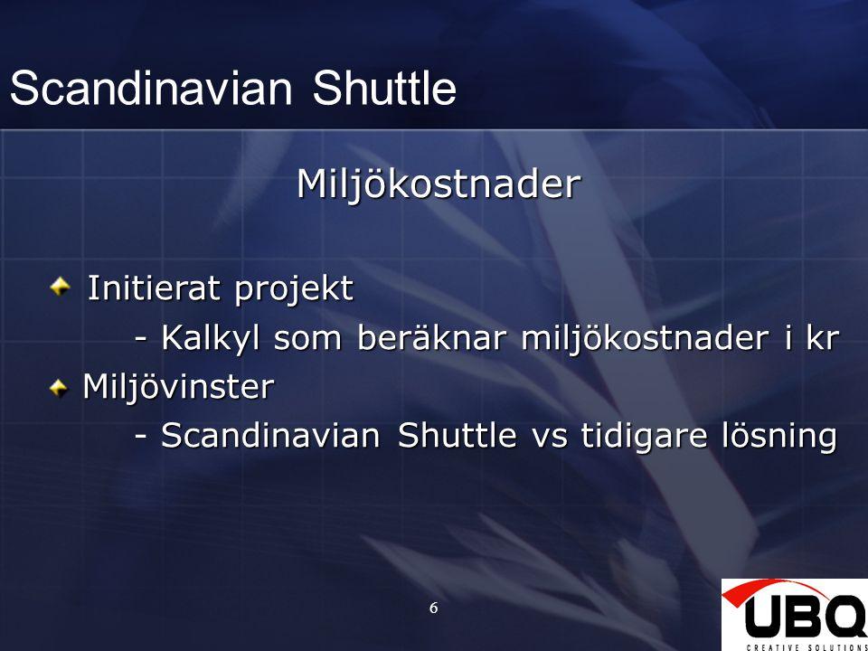 6 Scandinavian ShuttleMiljökostnader Initierat projekt - Kalkyl som beräknar miljökostnader i kr Miljövinster Miljövinster Scandinavian Shuttle vs tid