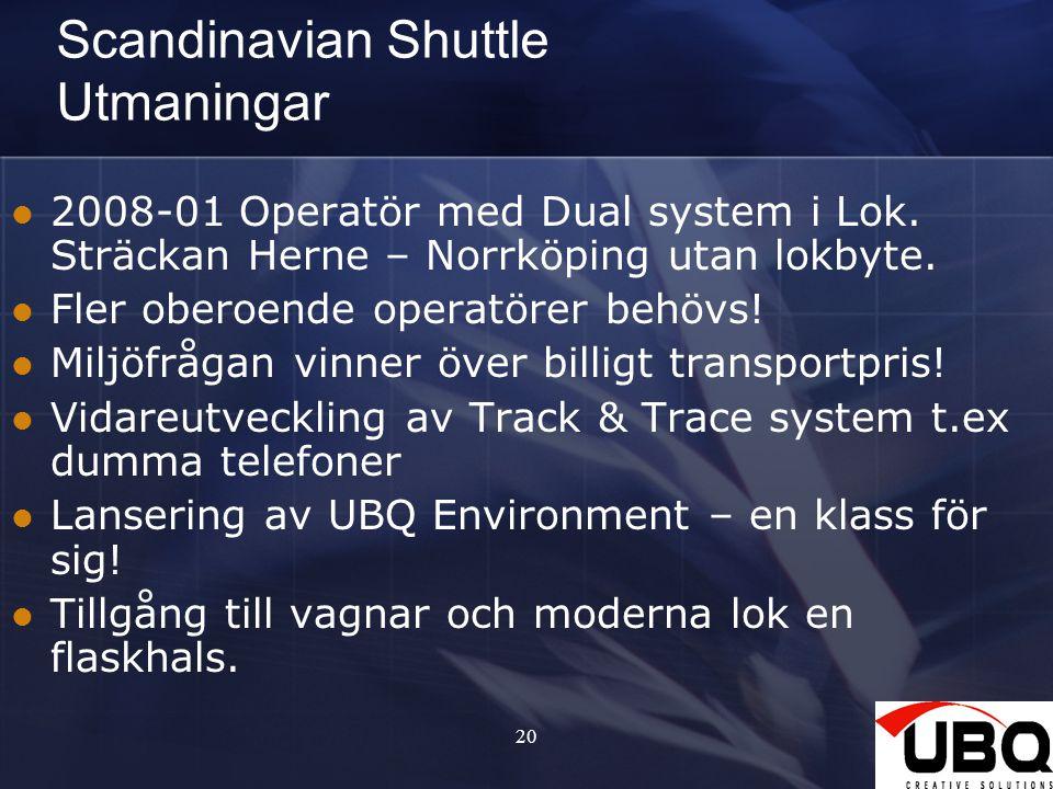 2027 Scandinavian Shuttle Utmaningar 2008-01 Operatör med Dual system i Lok. Sträckan Herne – Norrköping utan lokbyte. Fler oberoende operatörer behöv
