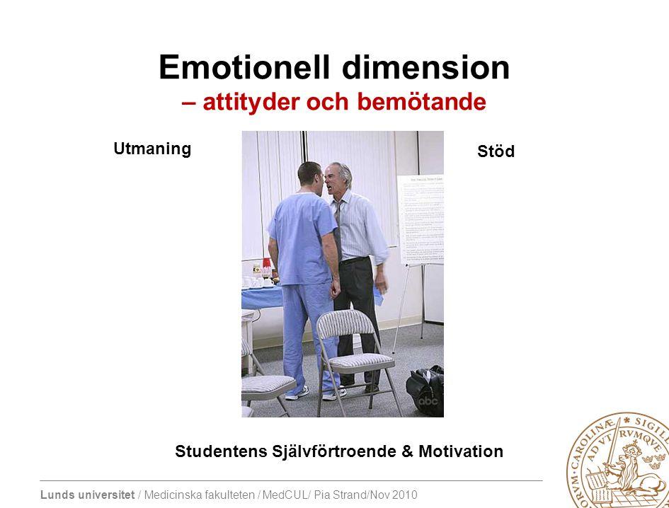 Lunds universitet / Medicinska fakulteten / MedCUL/ Pia Strand/Nov 2010 Emotionell dimension – attityder och bemötande Utmaning Studentens Självförtroende & Motivation Stöd