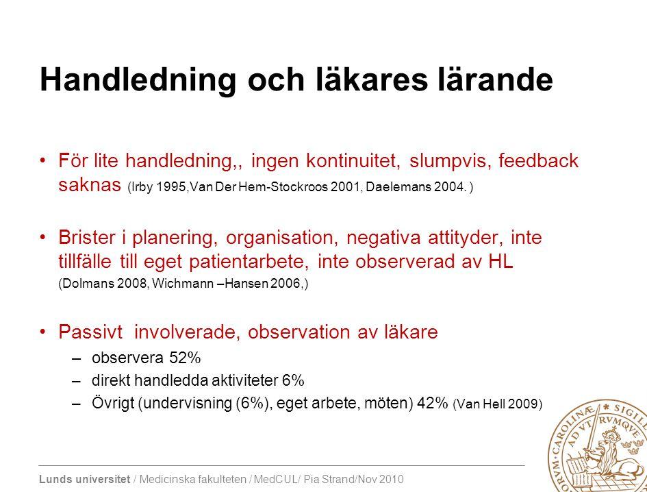 Lunds universitet / Medicinska fakulteten / MedCUL/ Pia Strand/Nov 2010 Handledning och läkares lärande För lite handledning,, ingen kontinuitet, slumpvis, feedback saknas (Irby 1995,Van Der Hem-Stockroos 2001, Daelemans 2004.