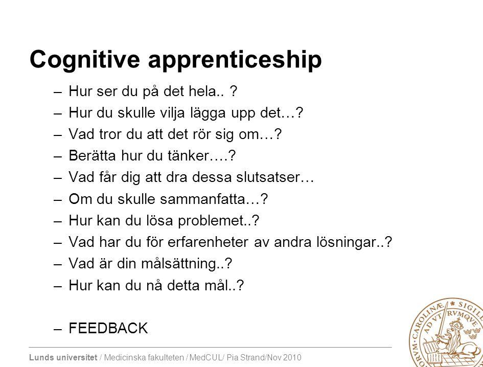 Lunds universitet / Medicinska fakulteten / MedCUL/ Pia Strand/Nov 2010 Cognitive apprenticeship –Hur ser du på det hela..