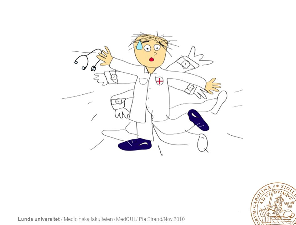 Lunds universitet / Medicinska fakulteten / MedCUL/ Pia Strand/Nov 2010 Cognitive apprenticeship-modellen Studenten får: –Verbalisera – sätta ord på tankar, beskriva handlingar –Problemlösning –Kritiskt granska, ifrågasätta utgångspunkter för handlingar –Reflektera, stimulerar meta-kognition –Sätta upp egna mål, självständigt söka lösningar (Collins 1989, Stalmeijer 2008.