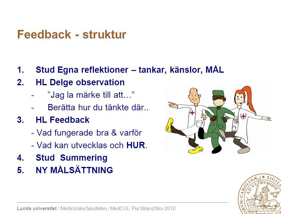 Lunds universitet / Medicinska fakulteten / MedCUL/ Pia Strand/Nov 2010 Feedback - struktur 1.Stud Egna reflektioner – tankar, känslor, MÅL 2.HL Delge observation - Jag la märke till att… -Berätta hur du tänkte där..