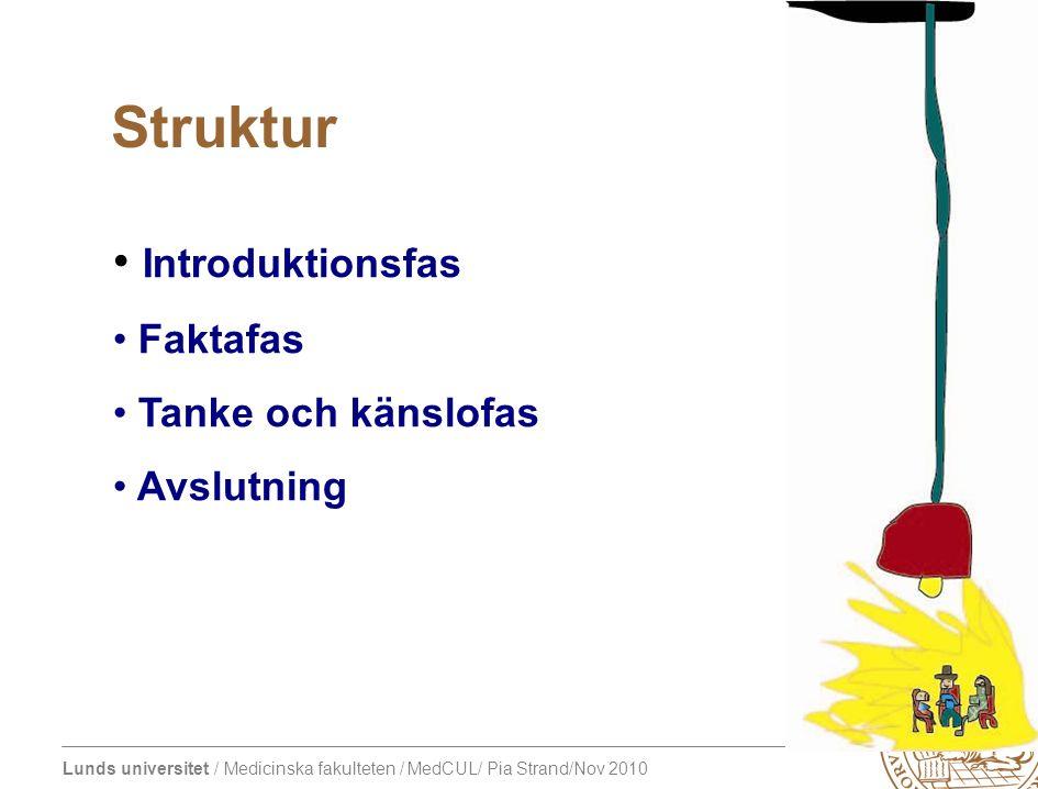 Lunds universitet / Medicinska fakulteten / MedCUL/ Pia Strand/Nov 2010 Introduktionsfas Faktafas Tanke och känslofas Avslutning Struktur