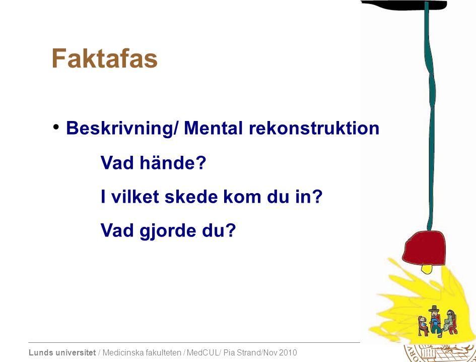 Lunds universitet / Medicinska fakulteten / MedCUL/ Pia Strand/Nov 2010 Beskrivning/ Mental rekonstruktion Vad hände.