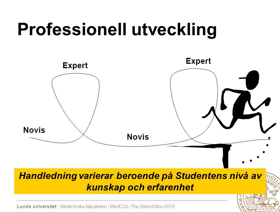 Lunds universitet / Medicinska fakulteten / MedCUL/ Pia Strand/Nov 2010 Expert Novis Expert Novis Handledning varierar beroende på Studentens nivå av kunskap och erfarenhet Professionell utveckling