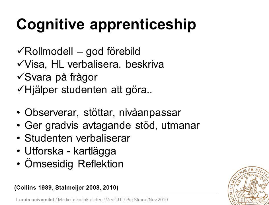 Lunds universitet / Medicinska fakulteten / MedCUL/ Pia Strand/Nov 2010 Cognitive apprenticeship Rollmodell – god förebild Visa, HL verbalisera.
