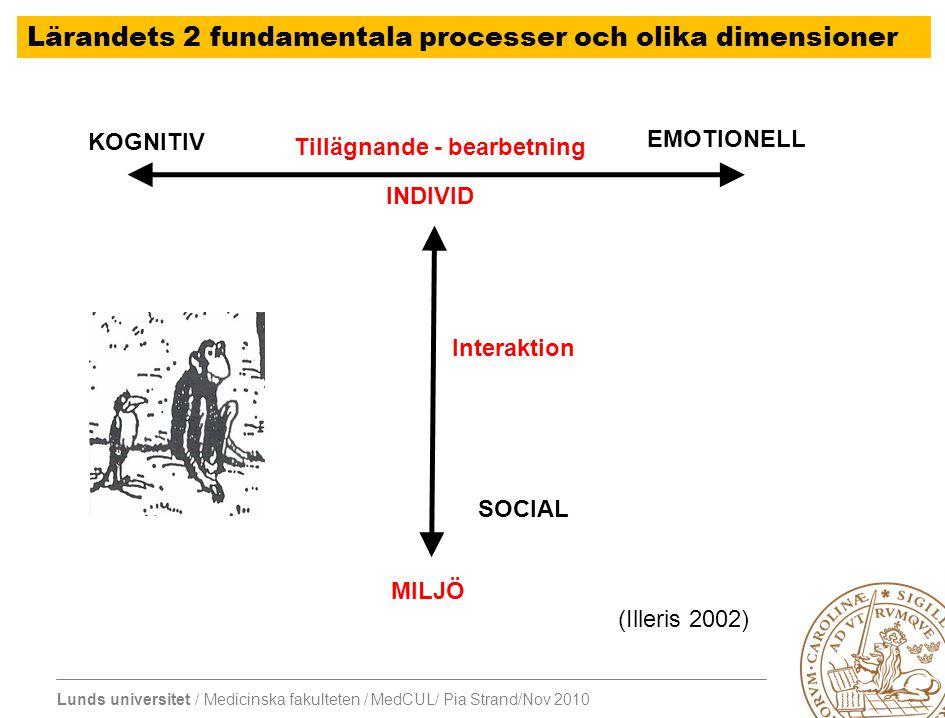 Lunds universitet / Medicinska fakulteten / MedCUL/ Pia Strand/Nov 2010 Läkares lärande – Aktivt delta i arbetet