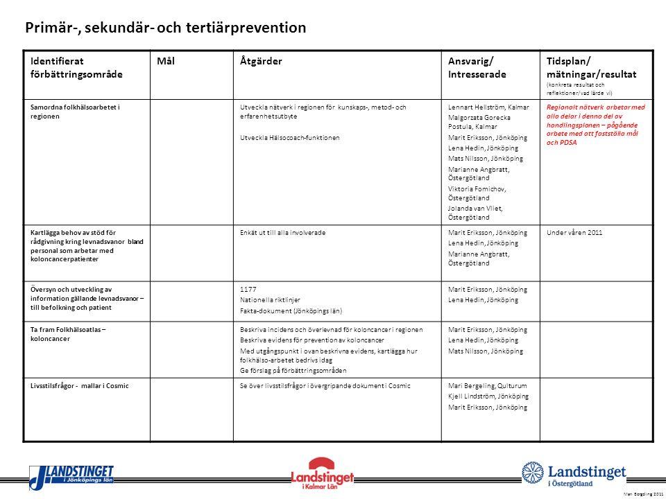 Mari Bergeling 2011 Identifierat förbättringsområde MålÅtgärderAnsvarig/ Intresserade Tidsplan/ mätningar/resultat (konkreta resultat och reflektioner
