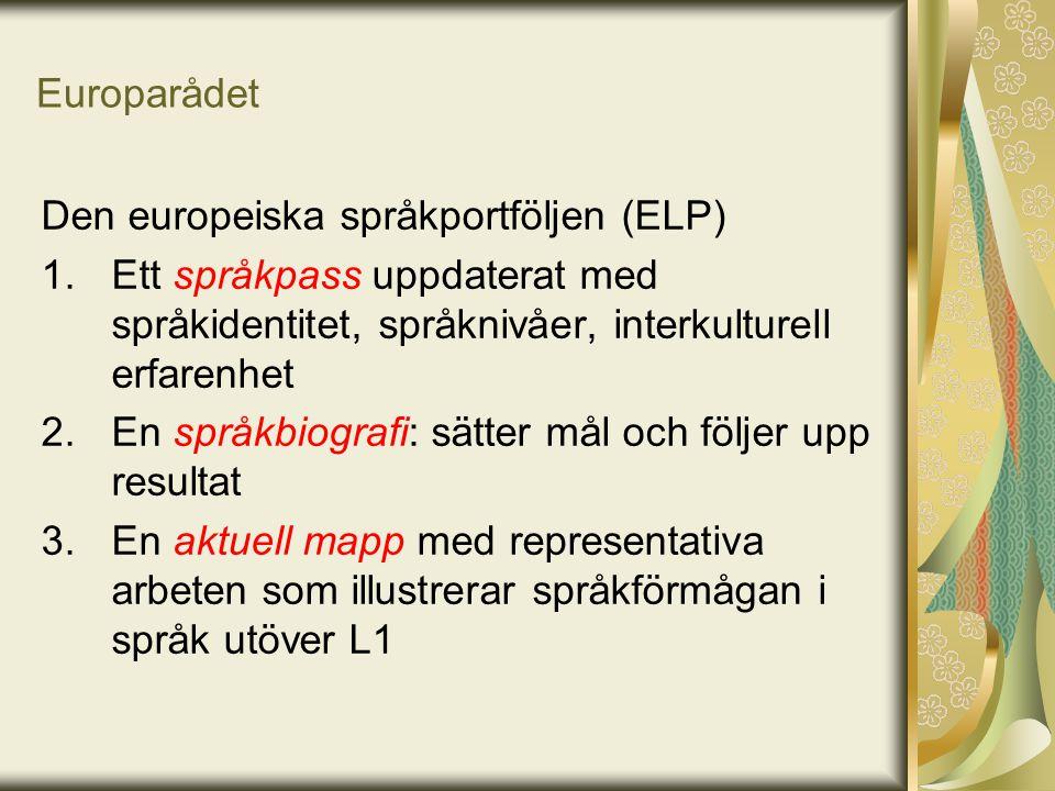 Europarådet Den europeiska språkportföljen (ELP) 1.Ett språkpass uppdaterat med språkidentitet, språknivåer, interkulturell erfarenhet 2.En språkbiogr